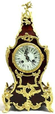 Antique French Mantle Clock Rococo 1880 Gilt ormolu Bronze & Shell Boulle