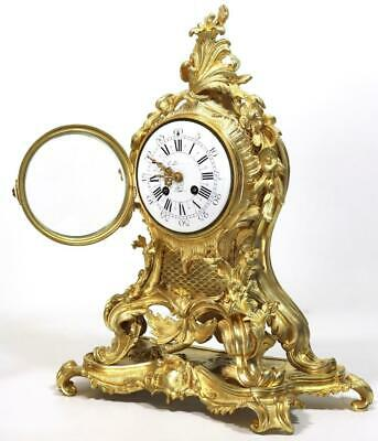 Antique Mantle Clock French Lovely 1880s Embossed Rococo Bronze Bell Striking