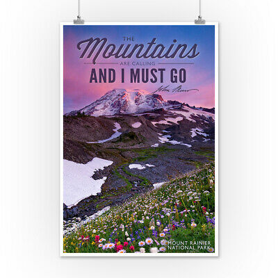 Mt Rainier WA Mts are Calling I Must Go LP Photo (Posters, Wood & Metal Signs)