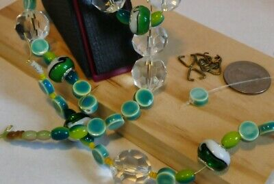 "MODS NECKLACE BUILDERS. ""Garden Greens"". U create 5 Necklace sections, earrings"