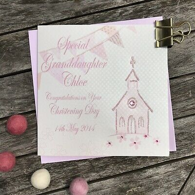 Personalised Granddaughter Christening Card By White Cotton Cards