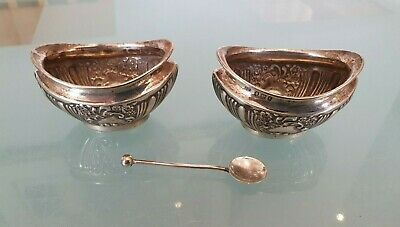 Silver Salt and Pepper Bowls with Spoon