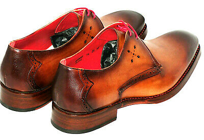 New Mens Jeffery West Brown K131 Leather Shoes Lace Up