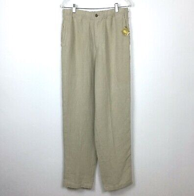 f4648c4eb7 Tommy Bahama Relax Pants Linen M Beach Casual Moroccan Beige Tan Mens T1167