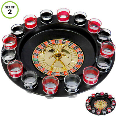 Evelots Casino Shot Glass Roulette Drinking Game Set With 16 Shot Glasses, Set/2