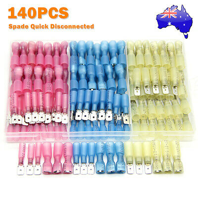 140pcs Electrical Heat Shrink Spade Wire Connectors Terminals Quick Disconnects