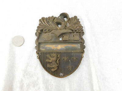 Old brass bronze Door Knocker Knight Shield Cover for repair