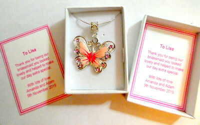 Bridesmaid Flower Girl PINK Butterfly Necklace Personalised Gift Box & Card