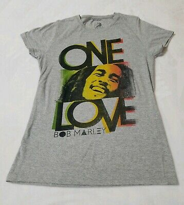 aceef8e9a Zion Rootswear Bob Marley One Love Reggae Gray T-Shirt Tee Womens Size Large