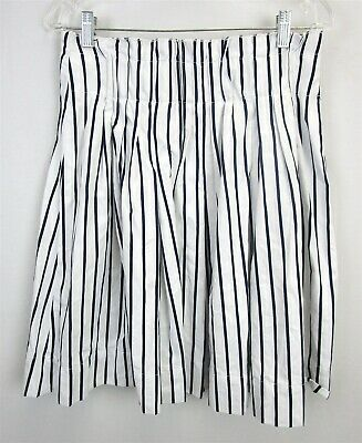 5f32be6d4a Kate Spade / Broome Street White Navy Vertical Stripe Pleated A-Line Skirt  Sz 8