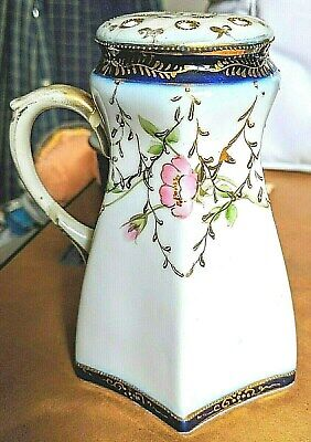 Antique Nippon Moriage Hand Painted Sugar Shaker Muffineer  5 1/8""