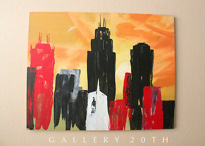Large Mid Century Modern Abstract Cityscape Orig Oil Painting! Vtg Modernism 70S