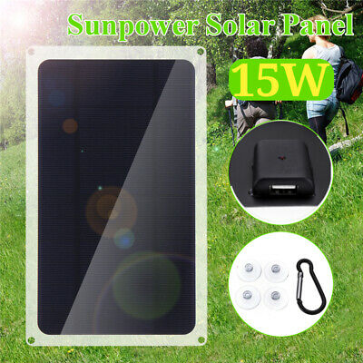 Portable 15W 6V Solar Power Charging Panel USB Charger For iPhone Samsung Tablet