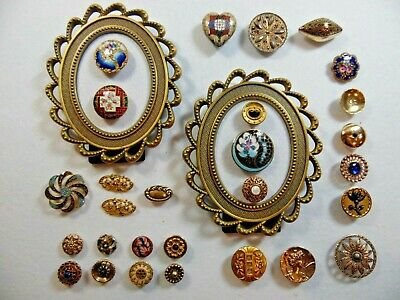 Antique Enamel and Antique Fancy Brass Buttons. Beautiful Lot of 28 Buttons.