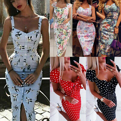 UK Women Floral Print Bodycon Vintage Holiday Ladies Summer Beach Midi Sun Dress