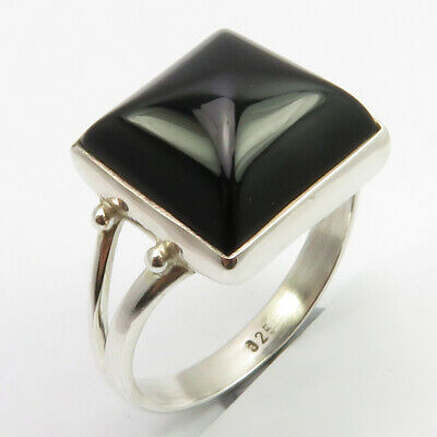 925 Sterling Silver Black Onyx Ring Size 7.5 Collectible Art Jewelry