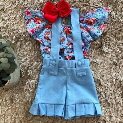Summer Toddler Baby Girls Clothes Floral Off-Shoulder Tops+Bib Shorts Outfit Set