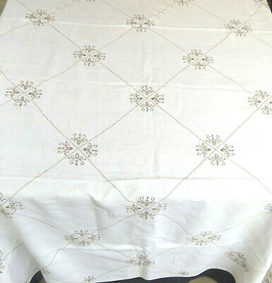 Vintage Linen Hand Embroidered Tablecloth 66 x 97 Rectangle
