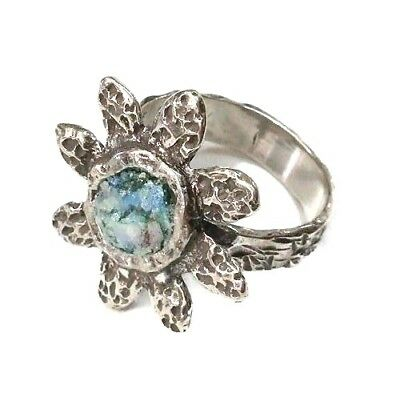 Roman Glass Ring Sterling Silver 925 Fragments Ancient 200 B.C Flower Israel.