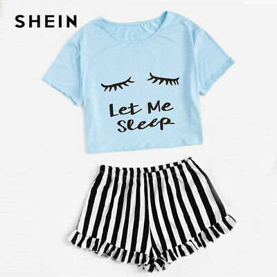 b9d8b46230 SHEIN Matching Family Outfits Graphic Crop Tee And Frilled Hem Striped PJ  Set