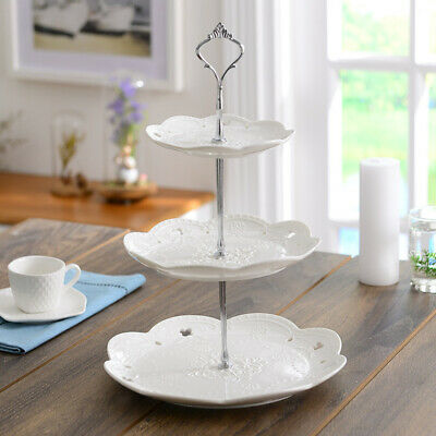 3-Tier Ceramics Cake Cupcake Stand Tray Dessert Display Tower Wedding/Party