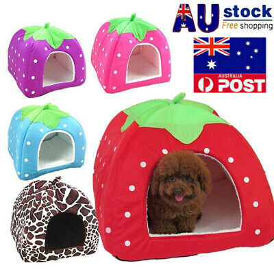 AU Dog Pet's Nest Bed Basket Soft Warm Igloo Pyramid Cave House Puppy Fluff Bed