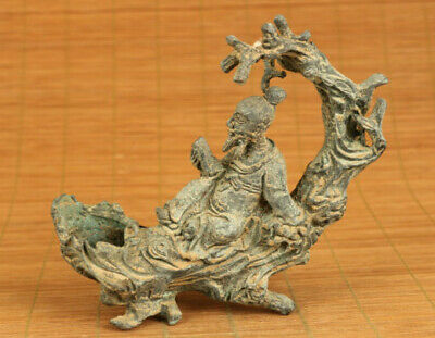 Chinese old copper hand carving li po reading book statue figue netsuke decorate