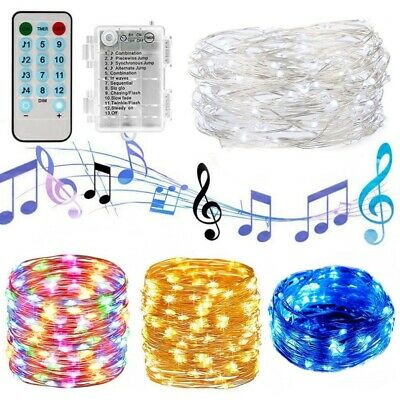 Sound Activated Music Battery Operated String Lights Micro LED 12 Modes Lamp UK