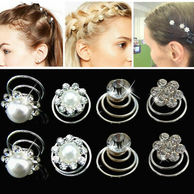 12pcs Bridal Wedding Crystal Hair Twists Swirls Pins Spirals Pearl Flower