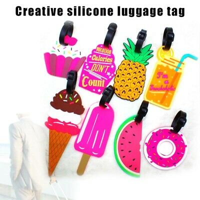 5 Pcs Silicone Cartoon Travel Luggage Tags Suitcase Name Address ID Bag Label