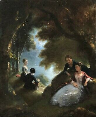 Figures in a Riverside Glade Antique Oil Painting 19th Century French School
