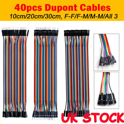 40pcs Dupont Jump Wire M-F M-M F-F Jumper Breadboard Cable Lead For Arduino New