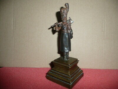 """VTG Small Cast SOLID BRONZE statue""""18th.Cent..IMPERIAL RUSSIAN DON COSSACK""""H15cm"""