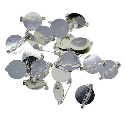20Pcs Blank Round Brooch Pad for 25mm Cabochon Settings Tray Base Safety Pin
