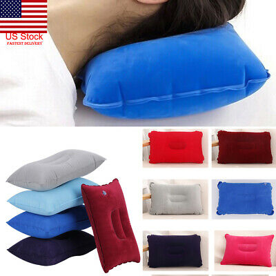Inflatable Air Travel Pillow Airplane Neck Head Chin Cushion Office Nap Rest US