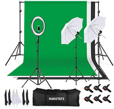 Hakutatz 55W 3 Light Continuous Lighting Kit with Background