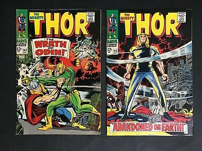 COMIC LOT OF 2 MARVEL THOR COMICS #145 & 147 FROM 1960's