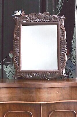 Mirror Carved Antique Style Vintage Solid Mahogany
