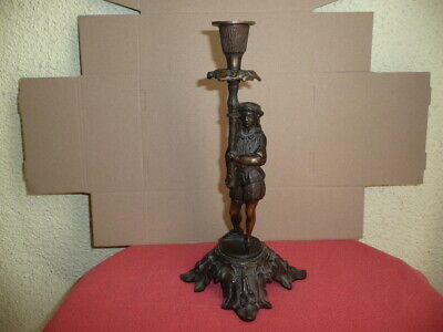 Antique Cast Bronze Statue of Medieval French Male Holding Candlestick H28cm.