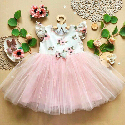 Sweet Toddler Baby Girls Fly-Sleeve Dress Party Princess Floral Sundress Outfit