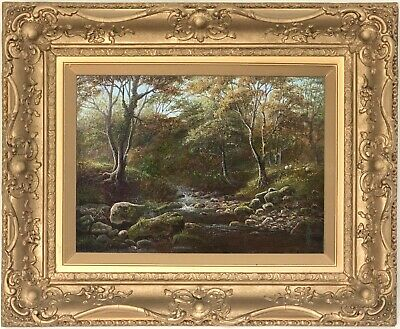 River Wharfe Bolton Woods Antique Oil Painting by William Mellor (1851-1931)