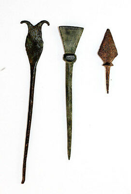*Sc* Nice Lot Of Three Roman Bronze & Iron Antiquities, 1St.-3Rd. Century Ad