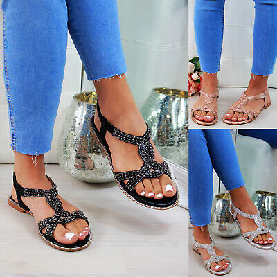 New Womens Flat Sandals Slingback Embellished Comfy Holiday Shoes Sizes 3-8