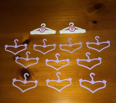 Lot of 12 Barbie Doll  Plastic Clothes Hangers -Purple Heart Shaped & White/Pink