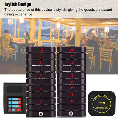 Restaurant Calling Pager Paging System Equipment 1Transmitter+20 Coaster Pagers