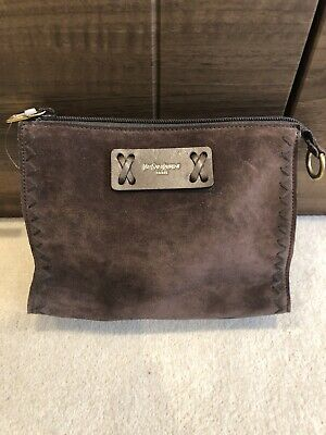 Yves Saint Laurent Brown Suede Pouch/washbag/NwT