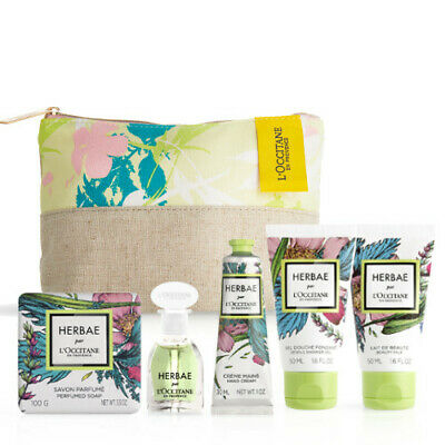 L'Occitane Herbae Travel Bag New NO PERFUME Shower Gel Soap Hand Cream Lotion