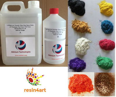2Kg Resin4Art Ultra-Clear Epoxy Resin + Deluxe Sparkle Pigments (10 Colours)