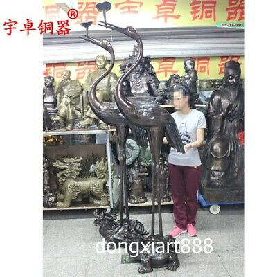 2.2 m Chinese Bronze Red-crowned crane Stand Dragon Tortoise Turtle candlestick