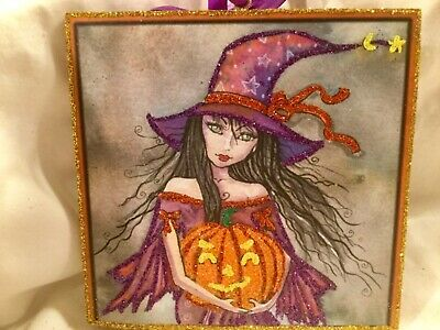 Purple Witch with JOL*Glittered Wood Ornaments*Vintage Glittered Image